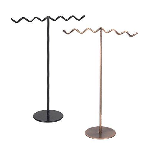 Gosear 2 PZ Metallo A forma di onda Orecchini Collana Gioielli Risultati Visualizzazione Stand Titolare Organizzatore