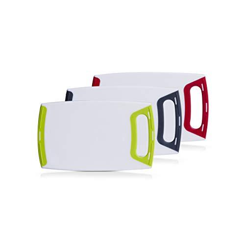 Schneidebrett eckig mit Griff, klein 25x15cm, Kunststoff weiß in 3 Farben abgesetzt, Vesperbrett, Frühstücksbrett (3er Set, je 1x rot, grün, grau)