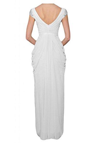 Toscane mariée femme en chiffon abendkleider de longueur fixe party ballkleider abendmode Blanc - blanc