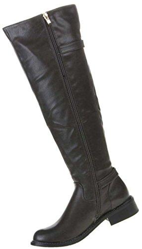 Damen Schuhe Stiefel Gefütterte Schnallen Deko Boots Dunkelgrau