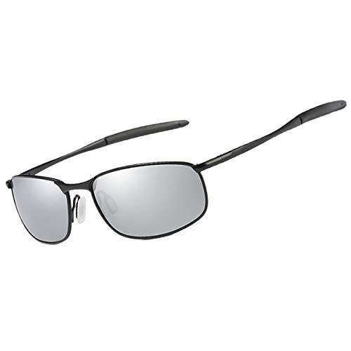 FEIDU Sport Polarisierte Sonnenbrille für Männer Stilvolle HD Objektiv Metallrahmen Herren Sonnenbrille FD 9005(Silber/schwarz)