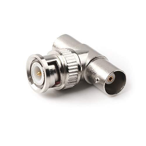 NANYI T Form 3 Way BNC Stecker auf 2 Weibliche RF Koaxial Adapter, für Antennenverlängerung Video Sicherheitssysteme Monitore Oszilloskop Test Netzkabel Draht (1 Paket)