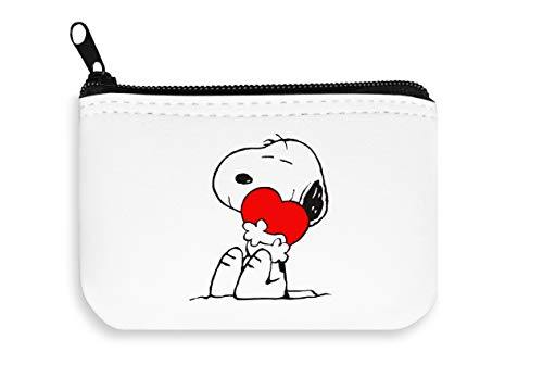 Happy Snoopy with Heart Zipper Wallet Coin Pocket Purse Brieftasche -