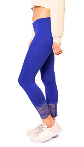 Easy Young Fashion Damen 3/4 Capri Leggings Spitze Spitzensaum Wadenlang One Size Royal Capri-jersey-leggings