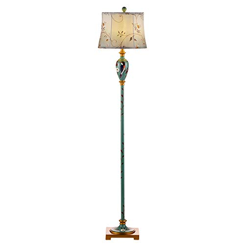 Lampadaire design rétro traditionnel - motif fleurs et oiseaux peints, lampe à poser grand salon (bleu-vert)
