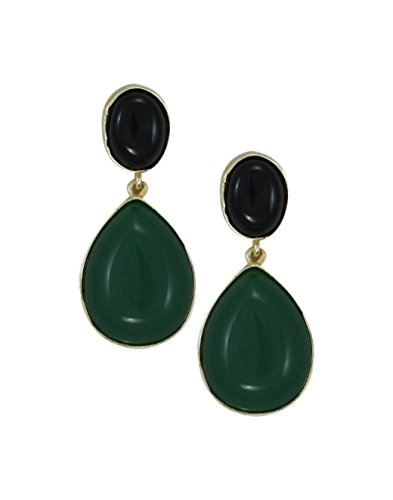 Zaveri Pearls Semi Precious Black Onyx & Green Emerald Stones Dangle Earring - ZPFK5762