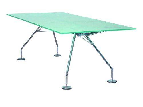NOMOS Tisch rechteckig / Sir Norman Foster / Tecno / Gestell Stahl verchromt, Tischplatte Verbundglas, Format: BTH 180 x 90 x 65-72 cm /...