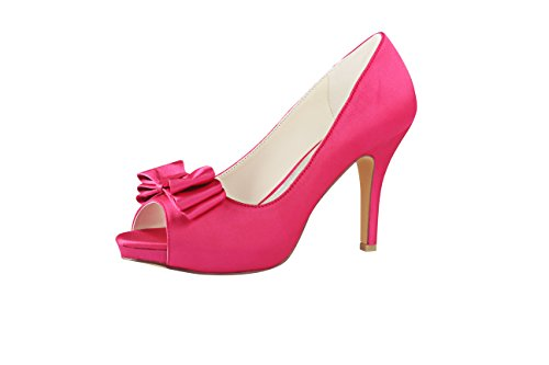 Emily Bridal Rose Hochzeit Schuhe Seide Peep Toe Bow Slip auf Brautschuhe Frauen High Heels (EU37, Fuchsie) -