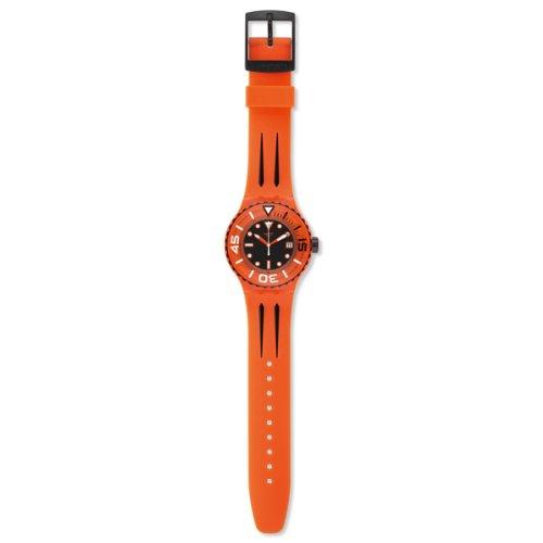 Swatch Orologio da Uomo Analogico al Quarzo con Cinturino in Silicone – SUUO400_Orange