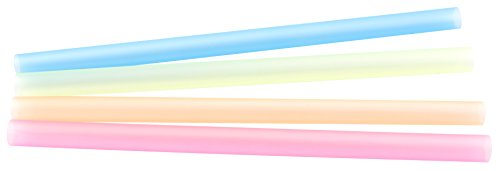 Fackelmann Trinkhalme SMOOTHIE, bunte Strohhalme aus Kunststoff, extra breite Trinkröhrchen für dickflüssige Getränke (Farbe: Gelb, Orange, Rosa, Blau), Menge: 40 Stück