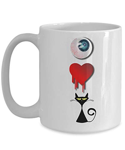 I Love Cat Mug Funny Halloween One Eye Heart White Coffee Cup