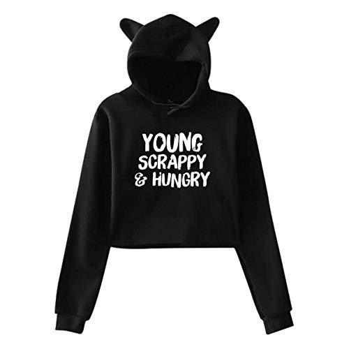 LXLING Beautiful Young Scrappy and Hungry Women's Cat Ear Hoodie Sweater -