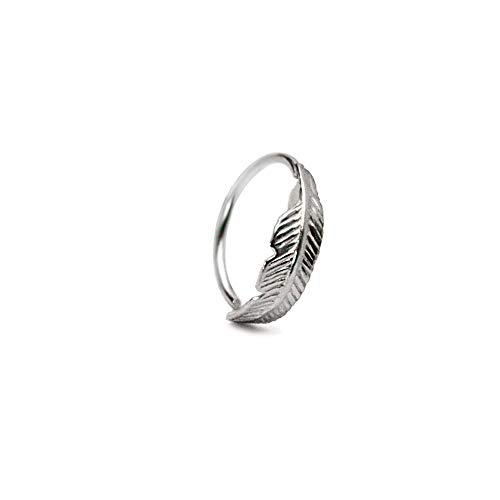Piercing Ring 925 Sterling Silber Feder dünn Hoop Ohrpiercing und Nasenpiercing (10.00 mm)