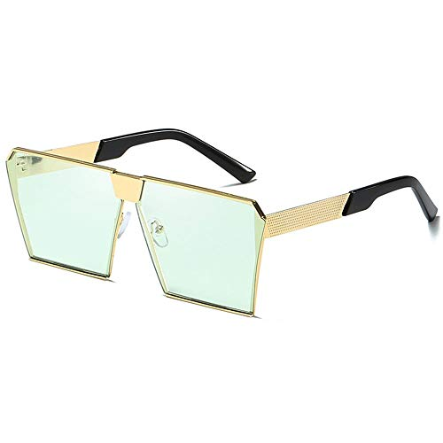 WULE-Sunglasses Unisex Outdoor-Sportarten Angeln Reiten Tourismus Strand Meer Sonnenbrillen UV400 Gold Unisex Herren/Damen Square Large Box Candy Bunte Sonnenbrillen (Farbe : Green)