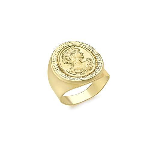 Carissima Gold Damen 17.9 mm x 21.5 mm Oval Griechische Kamee Ring 9k (375) Gelbgold 54 (17.2)