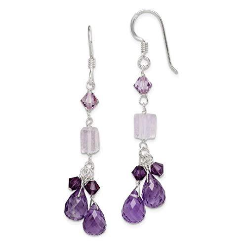 icecarats Anhänger 925Sterling Silber Amethyst Lavendel Quarz Kristall Kombination Ohrringe (1 Ct Diamant-anhänger 2)
