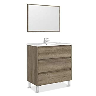 31WzvwfSiGL. SS324  - ARKITMOBEL 305050H - Mueble de Baño Dakota con 3 Cajones y Espejo, Modulo Lavabo Color Nordik, Medidas, 80x86x45 cm