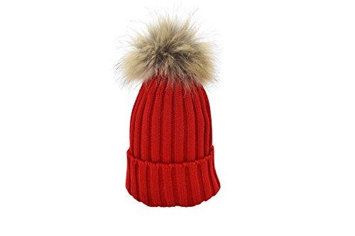 Rote Pom Mit Beanie (Oderola Damen Mädchen Strickmütze Wärmer Hüte Mützen Waschbär Pom Pom Beanie Hüte Winter,15 Farbe)