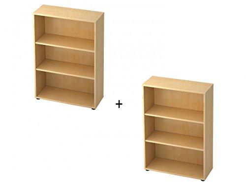 DR-Büro Büroschregal - 80 x 33 x 228,8 cm - erweiterbares System in 5 Farbvarianten - Aktenregal für 2x3 Ordnerhöhen, Farbe Büromöbel:Ahorn -