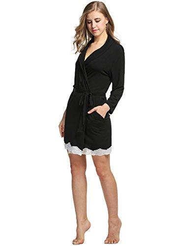 Avidlove Morgenmantel Damen Baumwolle kurz mit Spitze , Farbe - Schwarz , Gr. 40-42/M (Damen-kurz Baumwoll-jersey)