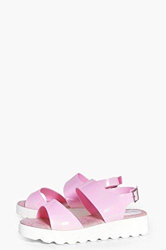 Damen Rosa Ellie Zweiteilige, Flache Sandalen Mit Profilsohle Rosa
