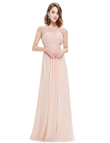 Ever Pretty Womens Cap Sleeve Formal Wedding Guest Dress 8 US Nude EP09993BH04