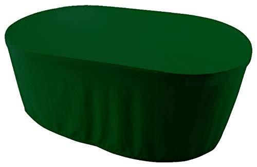 KaufPirat Premium Abdeckplane Oval 150x100x70 cm Gartenmöbel Gartentisch Hülle Abdeckung Haube Schutzhülle Abdeckhaube Tannengrün