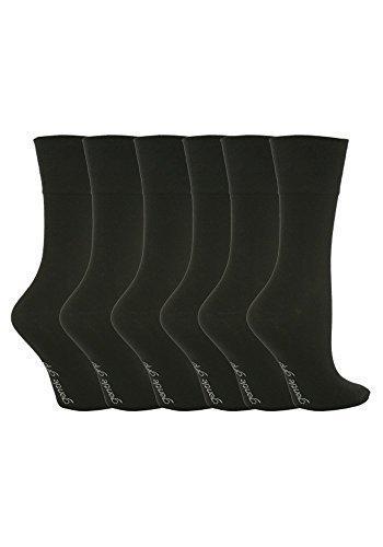 6 Pairs Women's Sockshop Cotton Gentle grip socks 4-8 uk,37-42 eu Plain colours (Black (GG67))