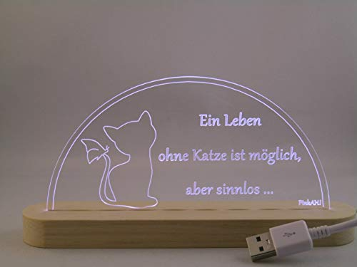 LED Bogen Schwibbogen Leuchterbogen Katze mit Spruch USB Motivlampe Motivleuchte