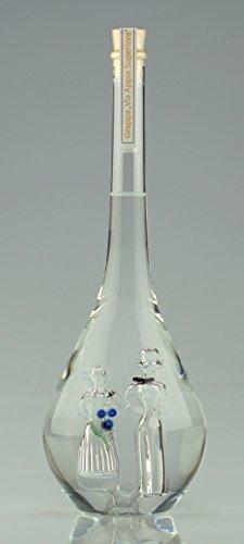 Geschenk Flasche Hochzeit, befüllt mit 500 ml Grappa 40%vol, handgefertigt, mit Hochzeitspaar Braut und Bräutigam aus Glas in der Flasche, in weißer Verpackung. Sehr schönes edles Hochzeitsgeschenk!