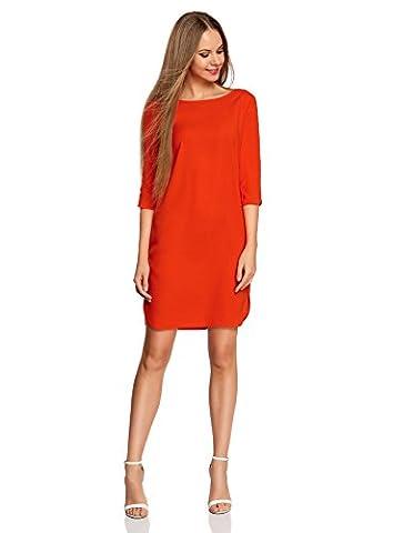 oodji Collection Damen Gerade Geschnittenes Kleid mit Tropfen-Ausschnitt am Rücken, Rot, DE 44 / EU 46 / XXL