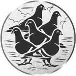 Pokal / Medaille Emblem, Motiv 5 Tauben, Durchmesser 50 mm, silber