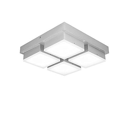 SAILUN® 48W LED Kaltweiß Deckenleuchte 4-flammig Acryl Deckenlampe Flur Wohnzimmer Lampe Schlafzimmer Küche Energie Sparen Licht Wandleuchte Silber Aluminium
