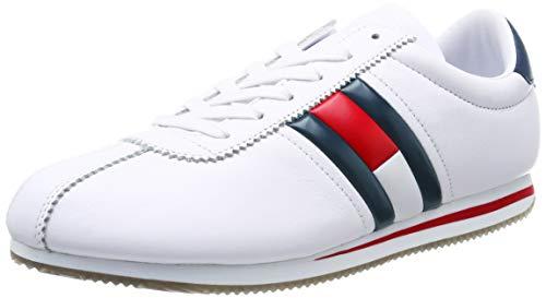 Hilfiger Denim Herren Retro Flag Sneaker, Weiß (White 100), 43 EU Retro-sneaker