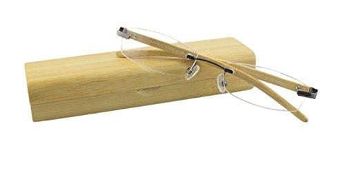 I Need You Bamboo randlose Lesebrille mit echten Bambusbügeln und Bambus-Etui +1,50dpt gun