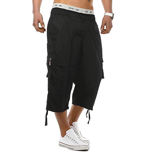 Knielange Shorts Hosen, Mens Elastische Taille Combat Lange Hosen ()