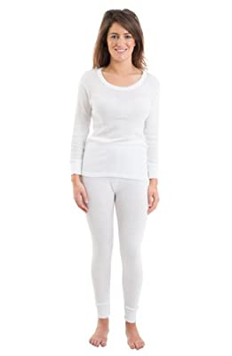 Womens Jacquard Rib Thermal Underwear Set, Long Sleeve Vest & Long Pants, White, 14-16