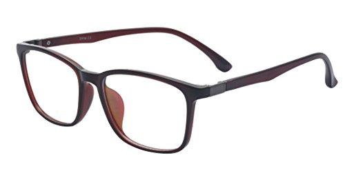 ALWAYSUV Voll Rahmen Rechteckig Klare Gläsern Optische Stärke Rahmen Brillenfassung Nerd Brille Braun