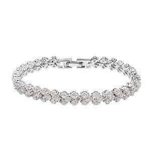 Bracelet avec Cristal irisé Swarovski , Plaqué Or blanc 18 carats . Longueur : 17 cm