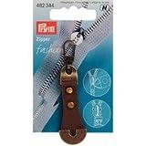 482344 Fashion-Zipper Leder/Metall braun KTE  1 St