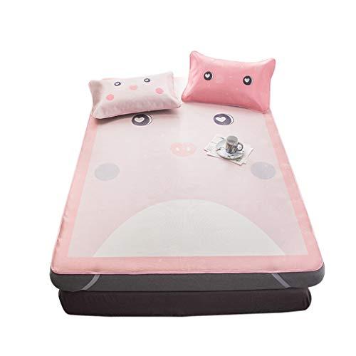 r Schlafmatte dreiteilige Ice Silk Soft Isomatte Matratzenauflage Klimaanlage Zimmer Bettlaken und Kissenbezüge Bettwäsche, Pink (Size : 1.5m(5ft)) ()