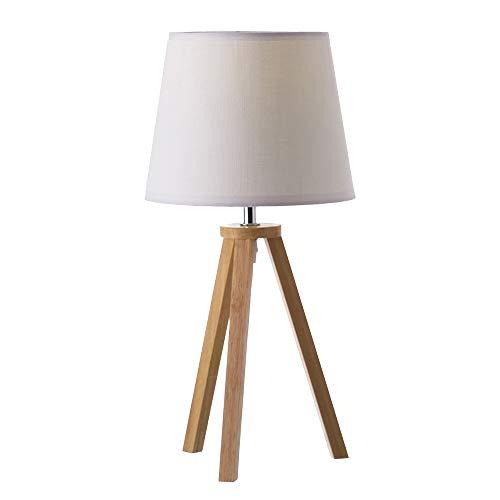 Lámpara de sobremesa nórdica Blanca de Madera para decoración Vitta - LOLAhome