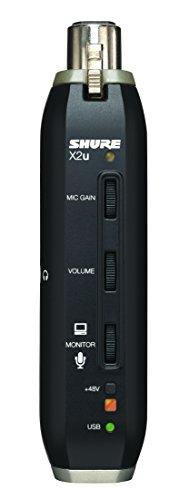Adaptador de señal de XLR a USB Shure, plug and play, previo integrado, monitorización de latencia cero, jack de auriculares