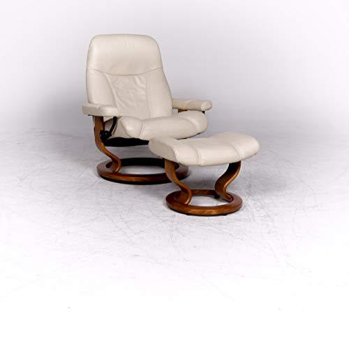 Stressless Consul L Designer Leder Sessel mit Hocker Beige Echtleder Stuhl Relax Funktion #8741