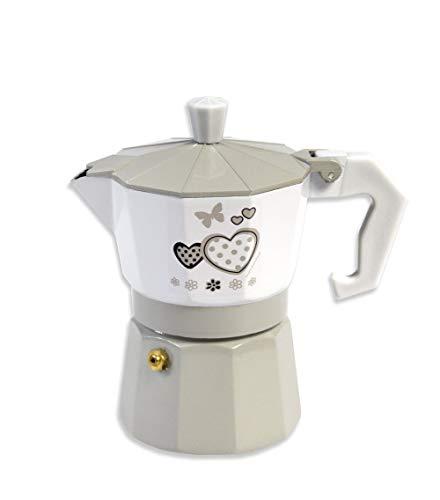 Vetrineinrete Caffettiera Fango e Bianco Shabby Chic Moka 2 o 3 Tazze Macchina del caffè...