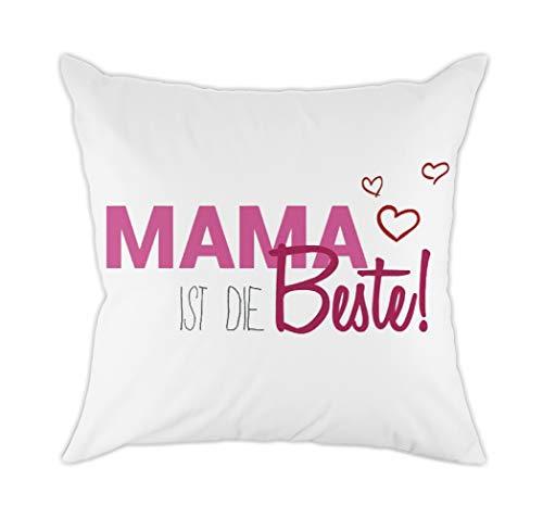 Vioaplem Mama IST DIE Bester Zierkissenbezüge für Mama Papa Kinder Geschenk Baumwolle Polyester Kissen Abdeckung 45 x 45 cm -