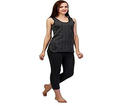 ZIMFIT Cotton Women's or Girls Winter wear Half Sleeves Thermal,Warmer Top,Bottom Set in Dark Grey Colour (Pack of 1)