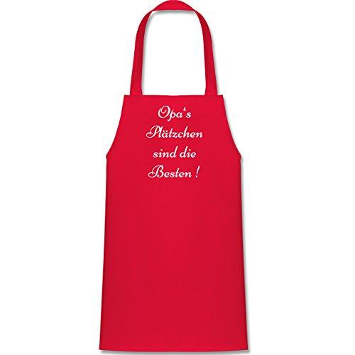 Weihnachten Geschenk Backen - Opa\'s Plätzchen sind die Besten - 60 cm x 50 cm (H x B) - Rot - X978 - - Kinder Jungen Mädchen Schürze Backschürze Kochschürze Grillschürze
