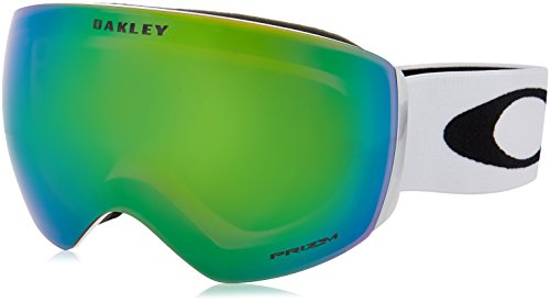 Oakley Skibrille Flight Deck SNOW XM, lens Prizm Jade Iridium (Matte White with black logo and white band), One Size, OO7064-23 (Oakley Skibrille)