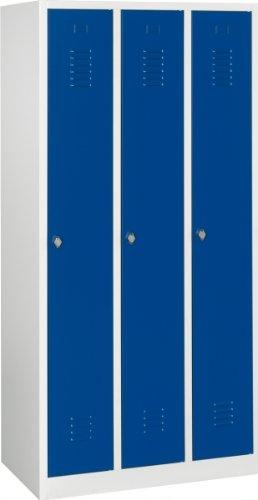 Lüllmann Spind Spint 3er Umkleide Stahl Kleiderschränke Gaderobenschrank 510131 blau 1800 x 885 x...
